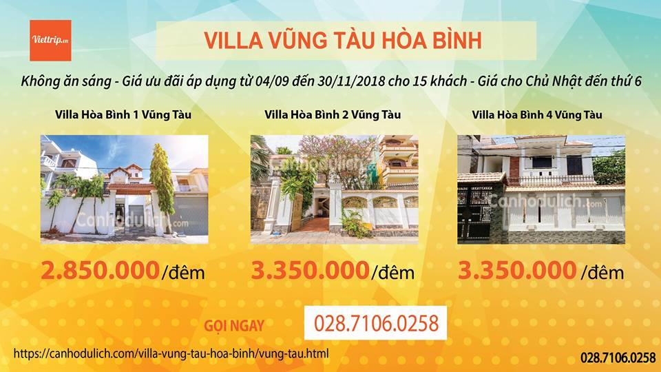 Khuyến mãi tại Hòa Binh villa Vũng Tàu